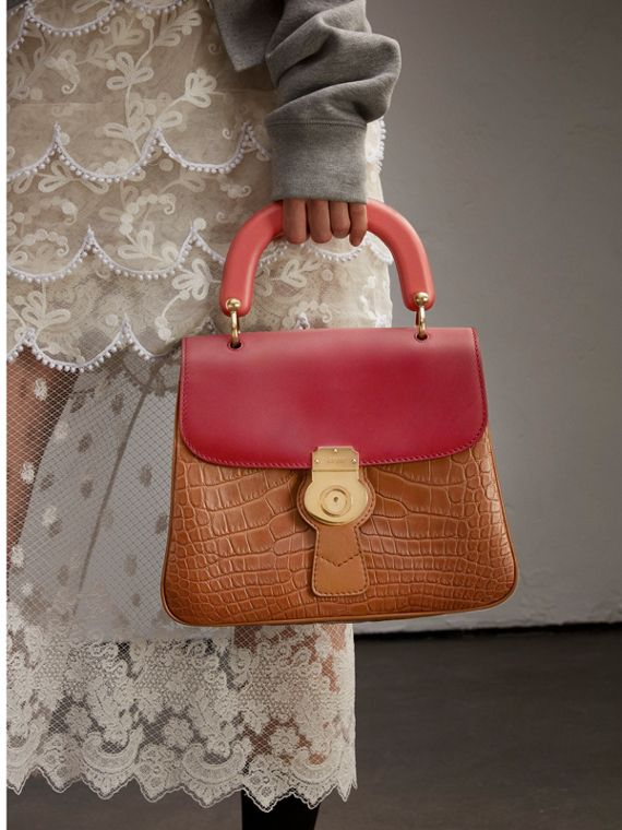 The Medium DK88 Top Handle Bag with Alligator Tan/antique Red