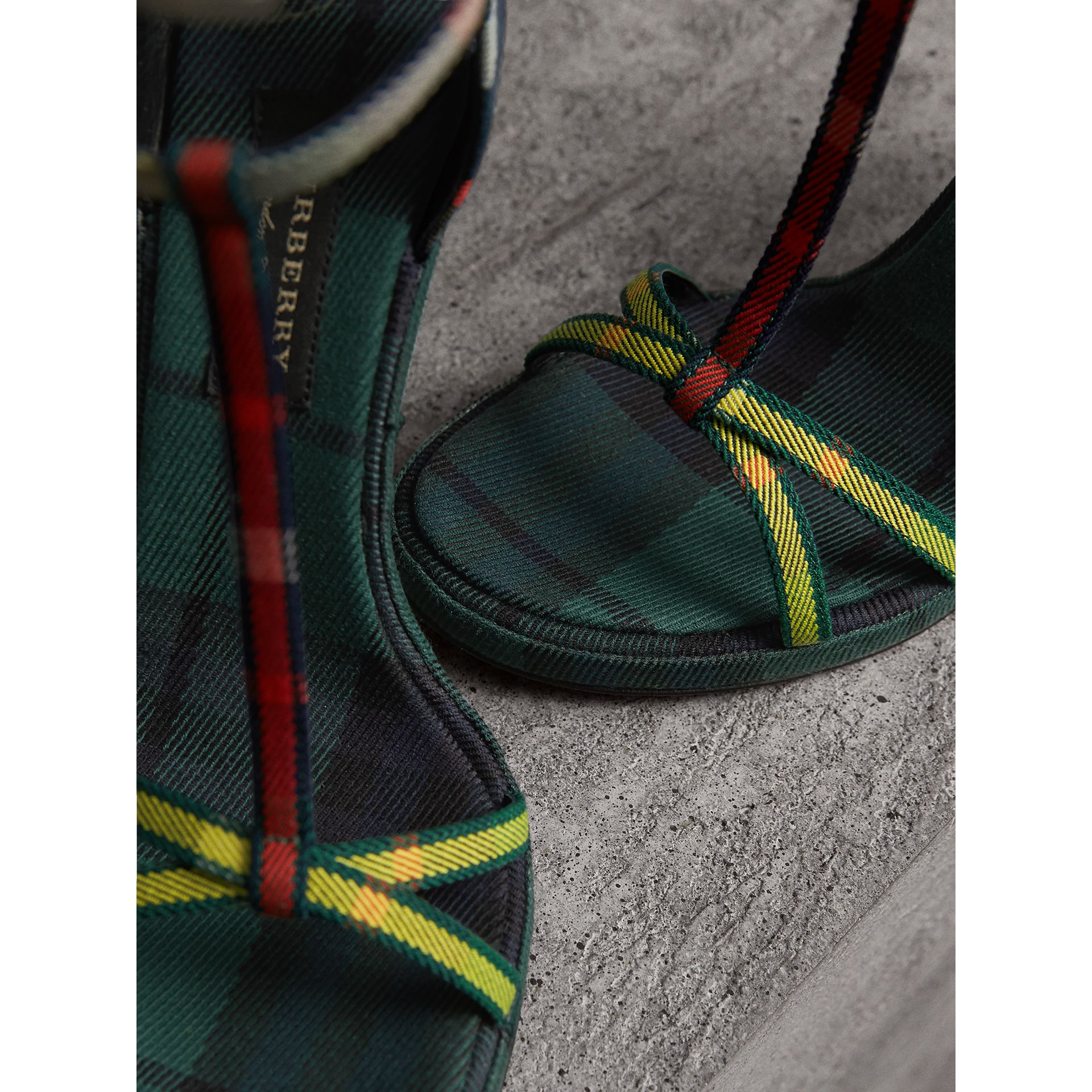 Tartan Cotton High Cone-heel Sandals in Forest Green - Women | Burberry - gallery image 1