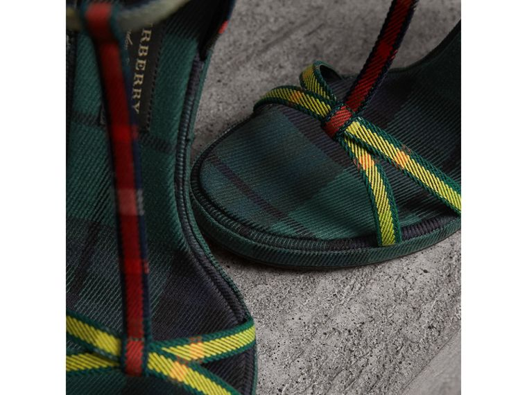 Tartan Cotton High Cone-heel Sandals in Forest Green - Women | Burberry Australia - cell image 1