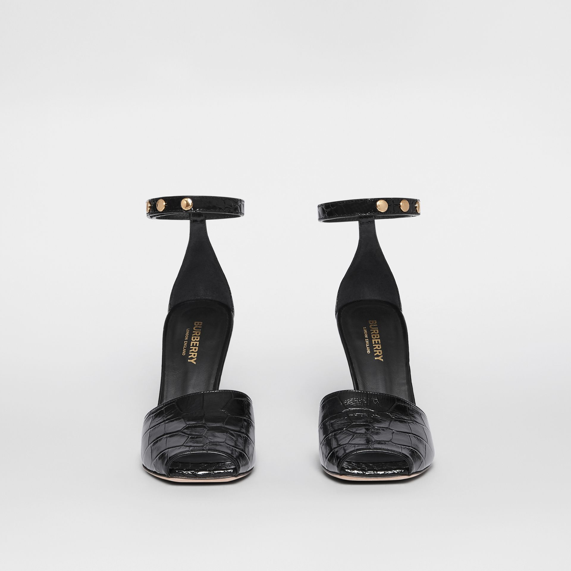 Triple Stud Embossed Leather Peep-toe Sandals in Black - Women | Burberry - gallery image 3