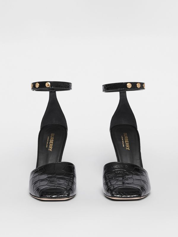 Triple Stud Embossed Leather Peep-toe Sandals in Black - Women | Burberry - cell image 3