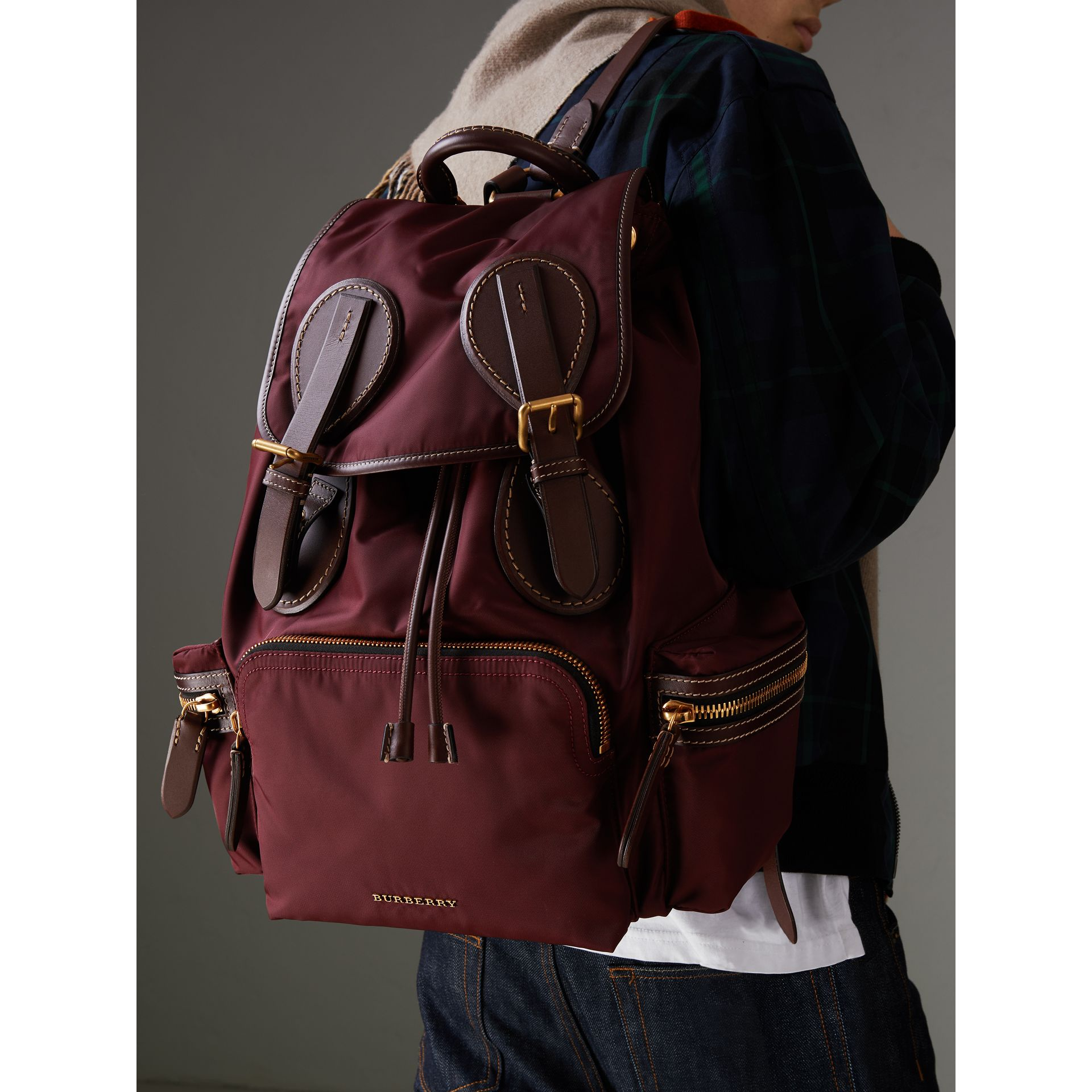 The Large Rucksack in Technical Nylon and Topstitched Leather in Burgundy Red - Men | Burberry - gallery image 3