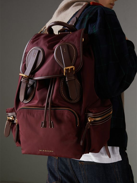 The Large Rucksack in Technical Nylon and Topstitched Leather in Burgundy Red - Men | Burberry United Kingdom - cell image 3