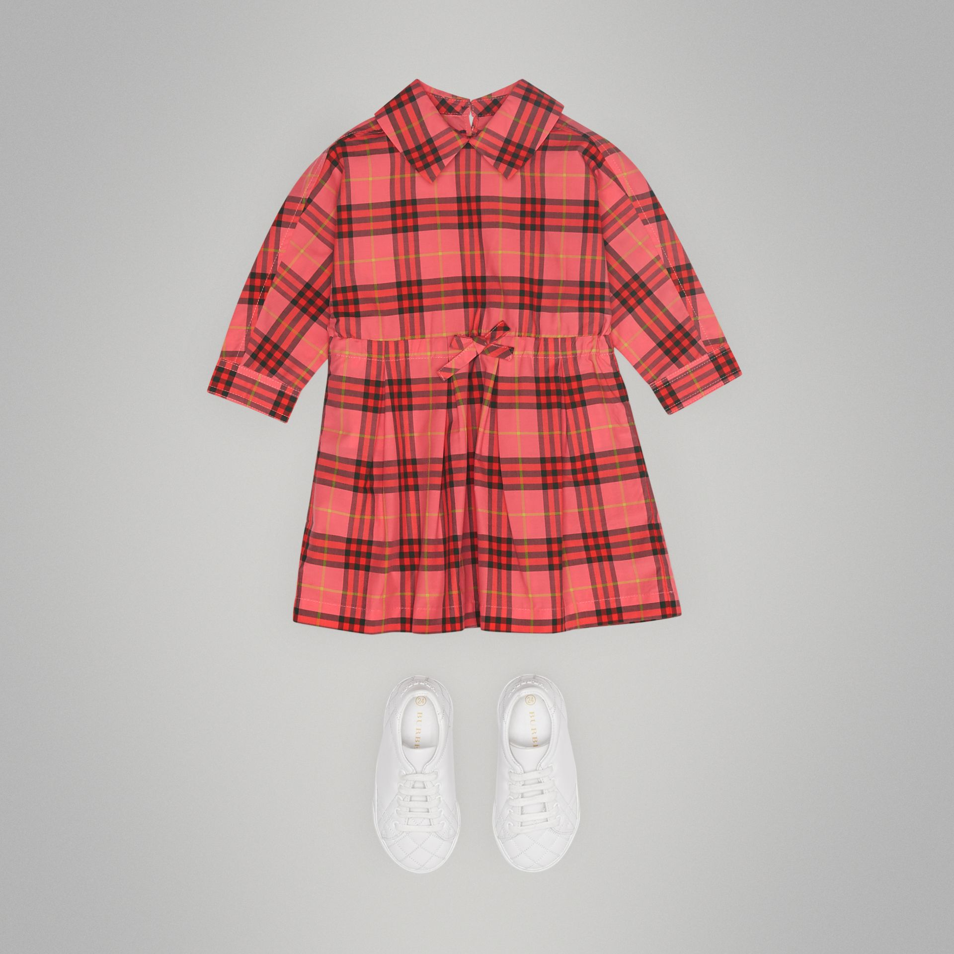 Check Cotton Drawcord Dress in Coral Red - Children | Burberry - gallery image 2