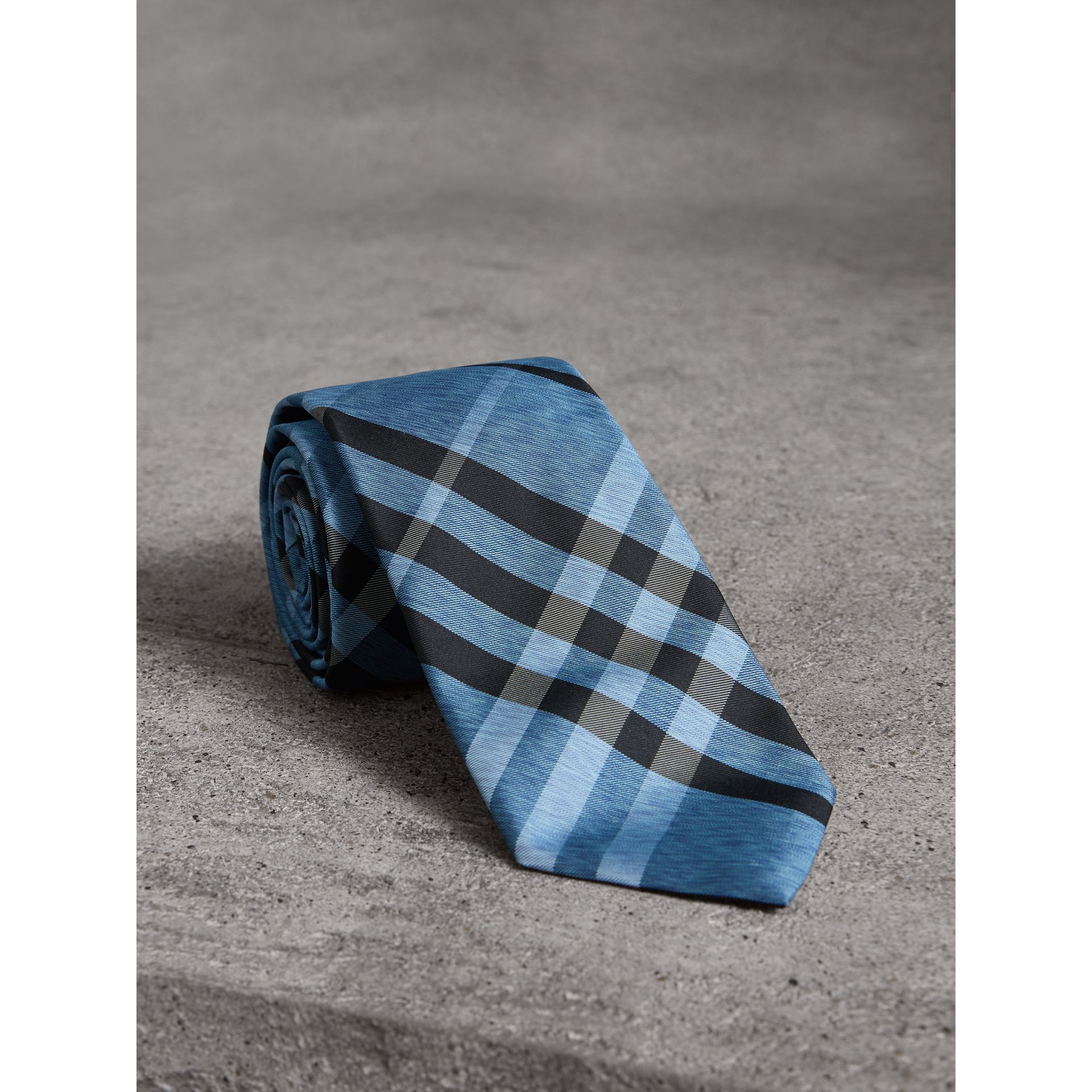 Modern Cut Check Silk Tie in Steel Blue - Men | Burberry United Kingdom - gallery image 1