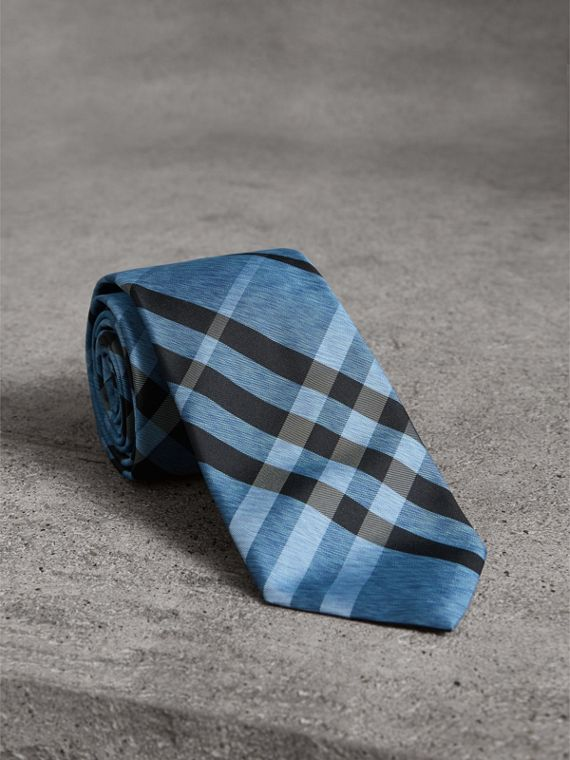 Modern Cut Check Silk Tie in Steel Blue