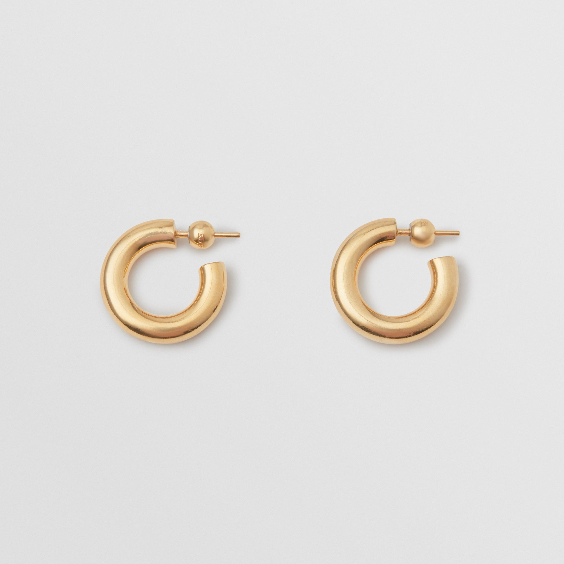 Gold-plated Hoop Earrings in Light - Women | Burberry Canada - gallery image 0