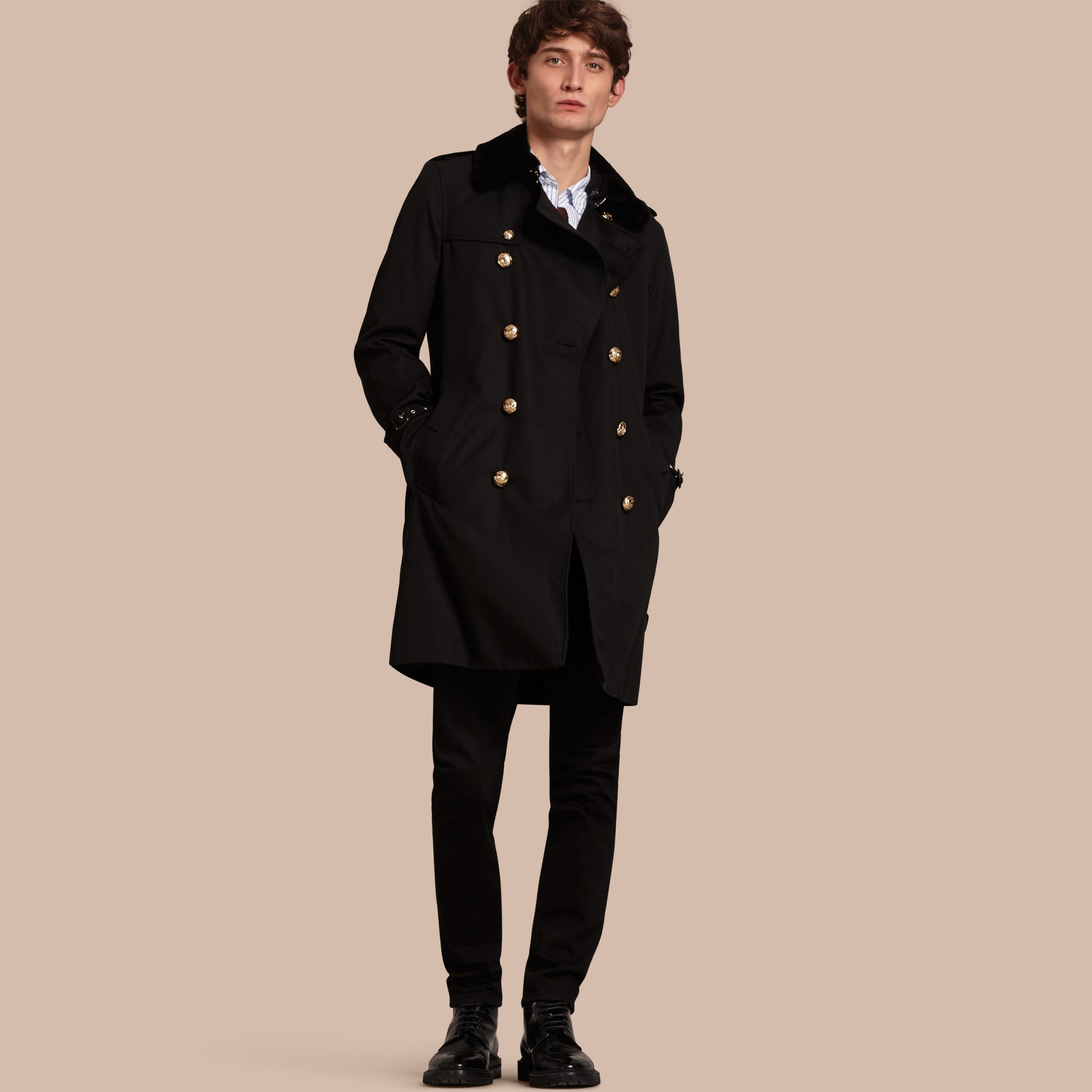 Black Military Trench Coat with Detachable Mink Collar and Warmer - gallery image 1