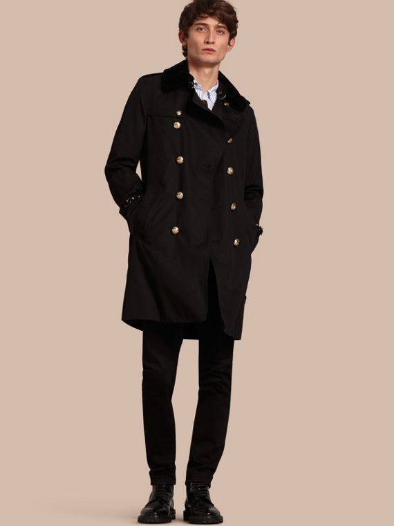 Military Trench Coat with Detachable Mink Collar and Warmer