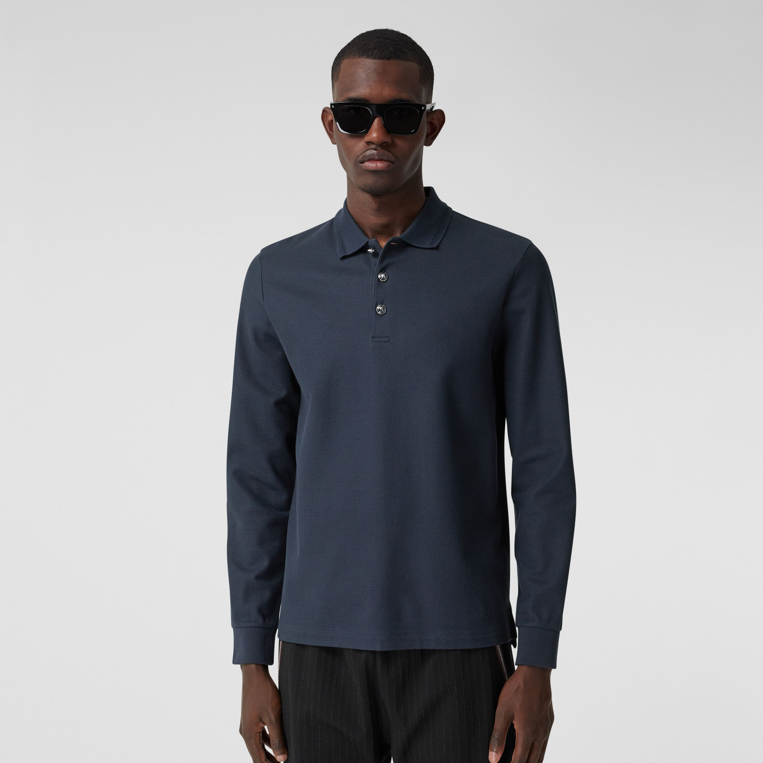 Long-sleeve Cotton Piqué Polo Shirt in Navy - Men | Burberry Canada - 1