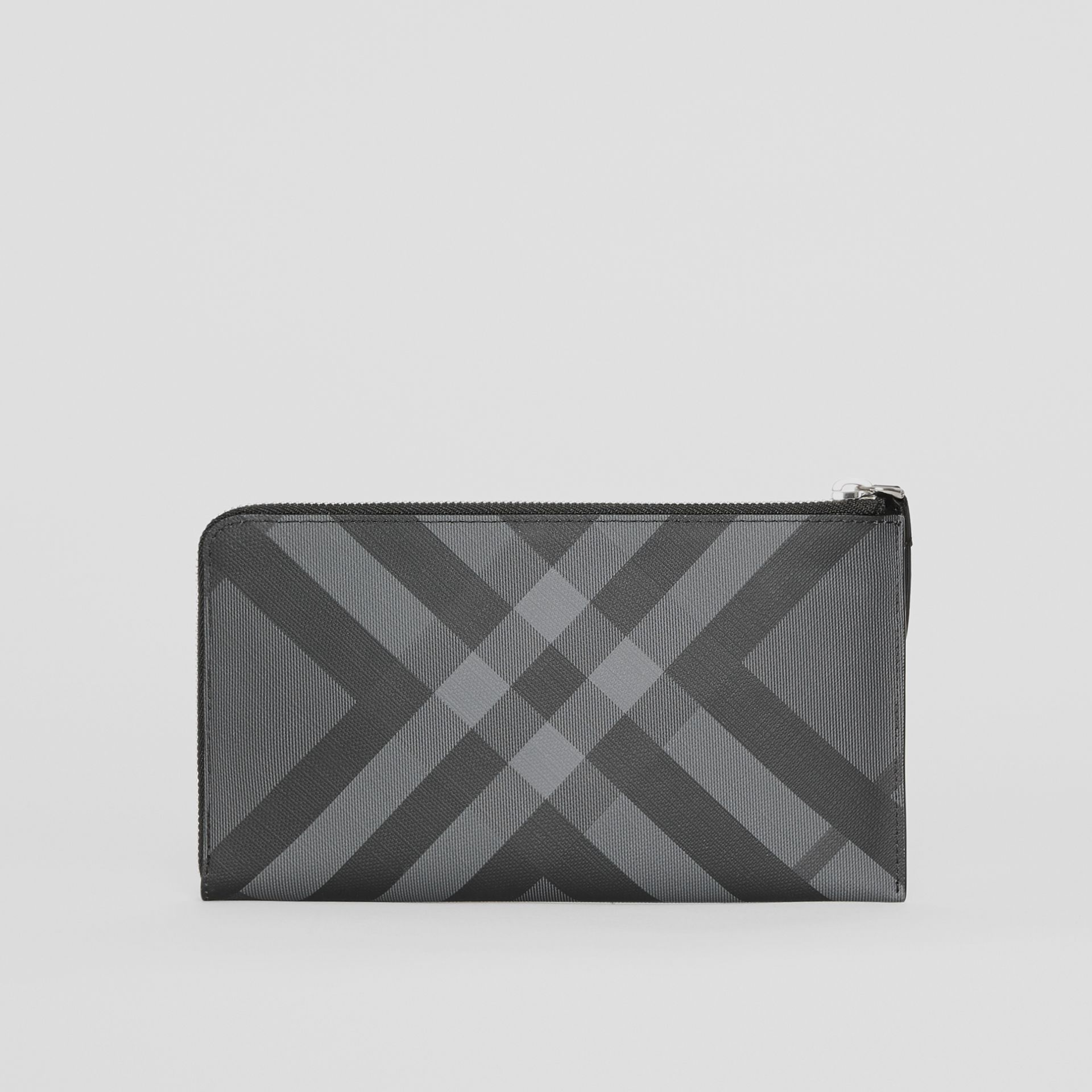 London Check and Leather Travel Wallet in Charcoal/black - Men | Burberry United States - gallery image 7