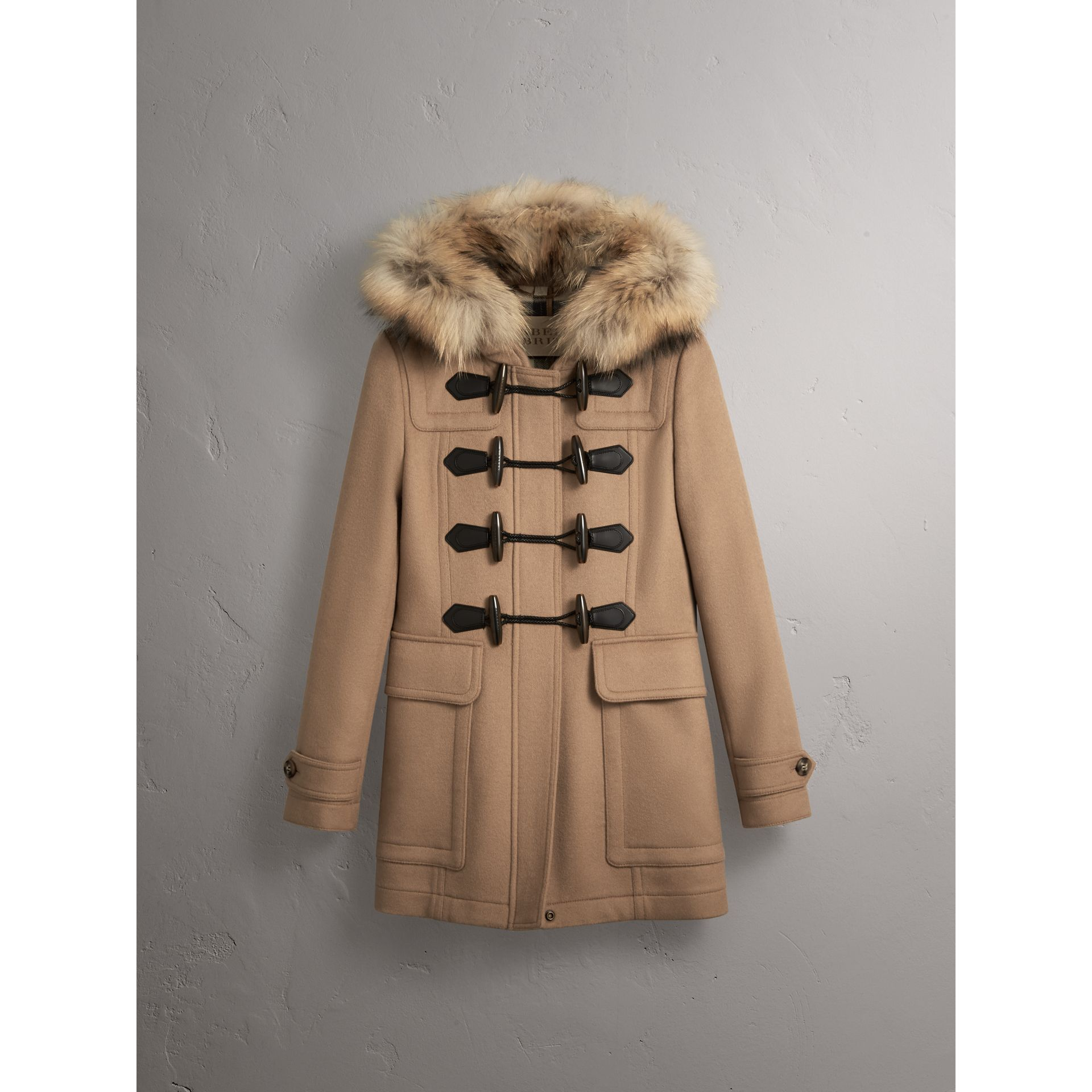 Detachable Fur Trim Wool Duffle Coat in Camel - gallery image 4
