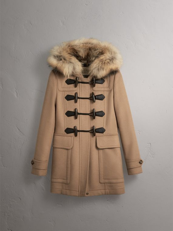 Detachable Fur Trim Wool Duffle Coat in Camel - cell image 3