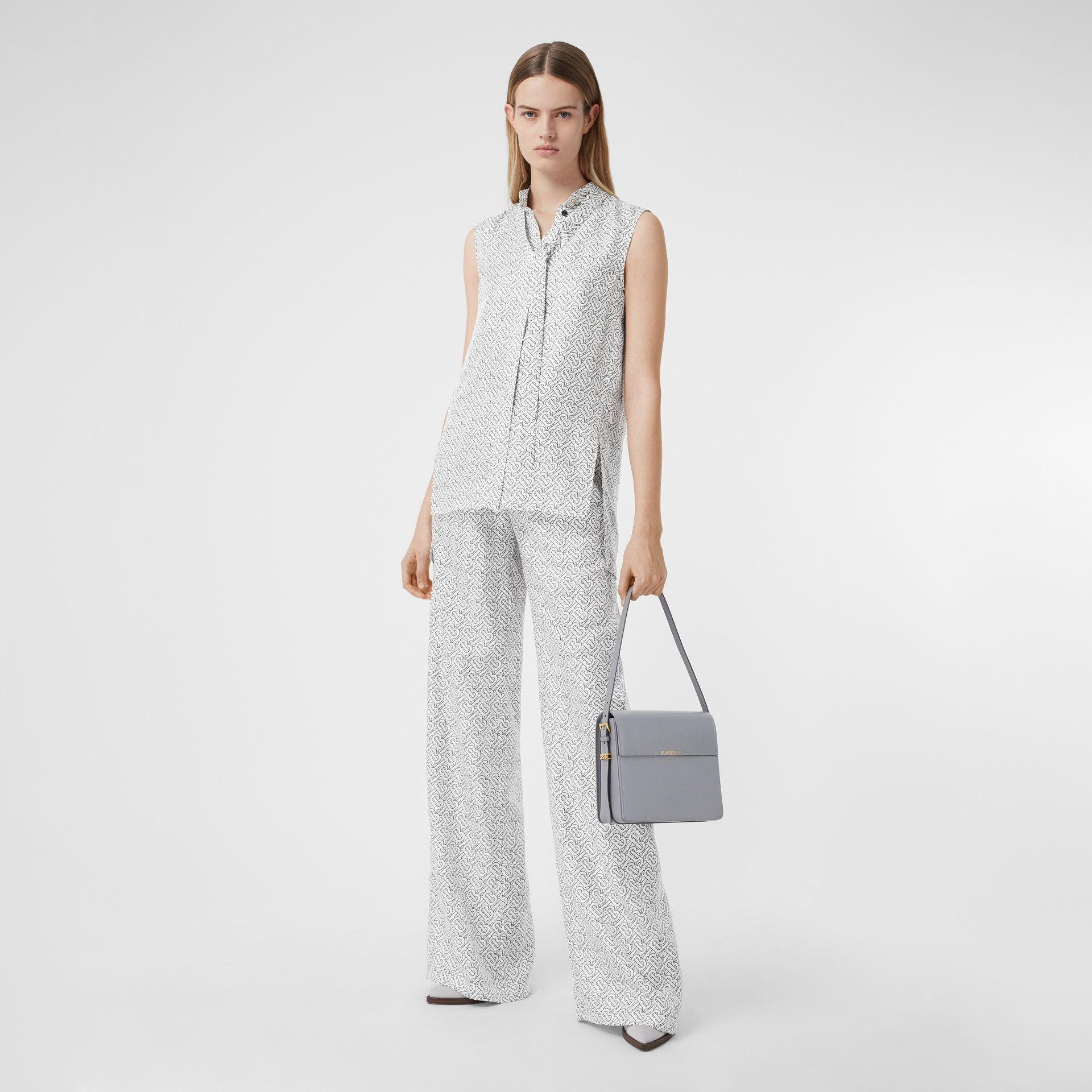 Sleeveless Monogram Print Silk Tie-neck Shirt in White - Women | Burberry - gallery image 0