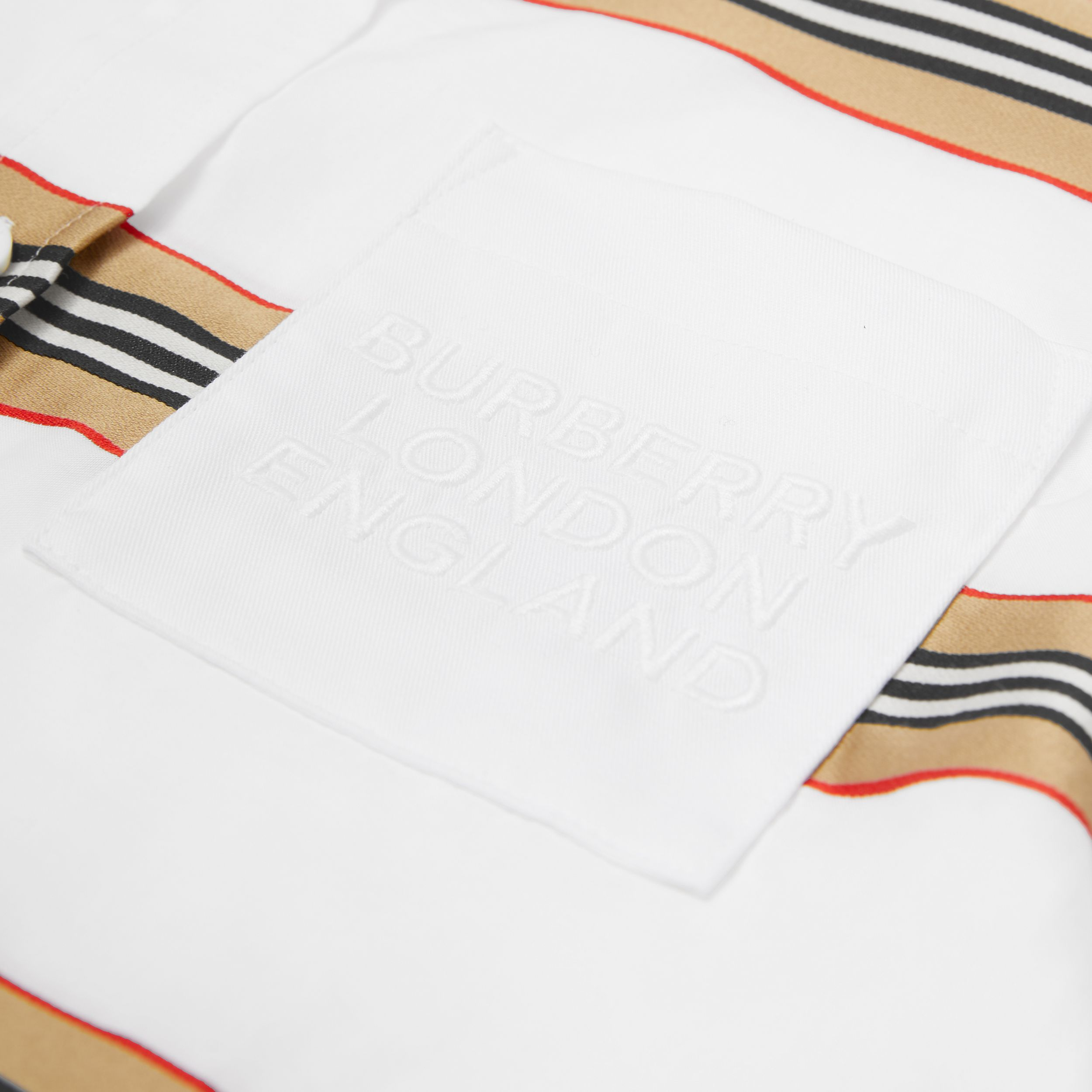 Embroidered Logo Icon Stripe Cotton Shirt in White | Burberry - 2