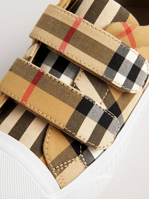 Vintage Check and Leather Sneakers in Antique Yellow/optic White | Burberry Australia - cell image 1