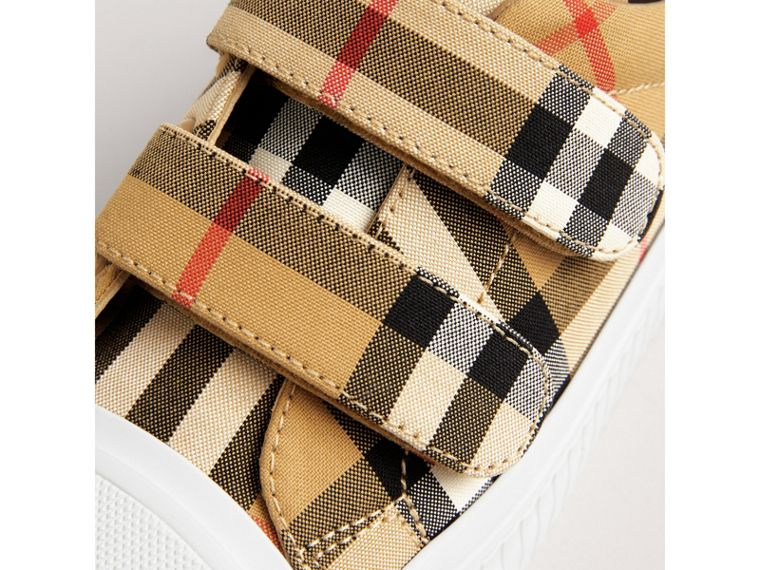 Vintage Check and Leather Sneakers in Antique Yellow/optic White | Burberry Canada - cell image 1