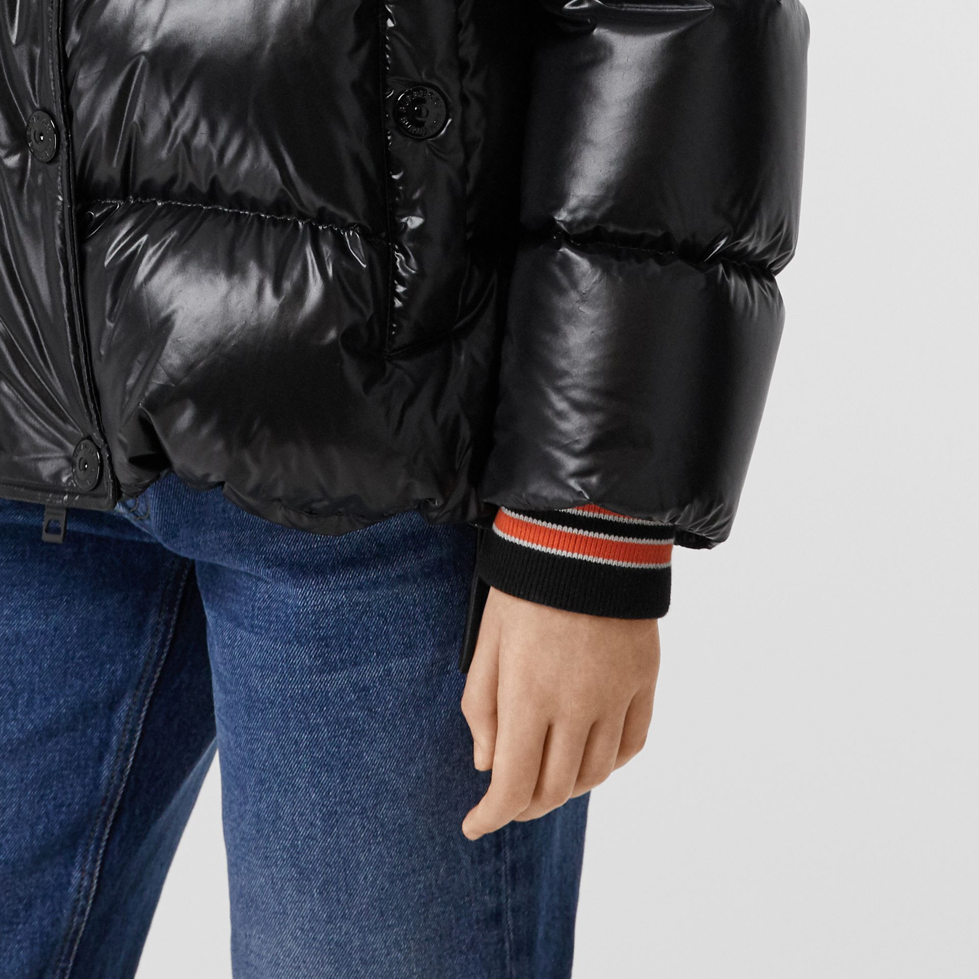 Detachable Hood Logo Graphic Puffer Jacket in Black - Women | Burberry United Kingdom - gallery image 4