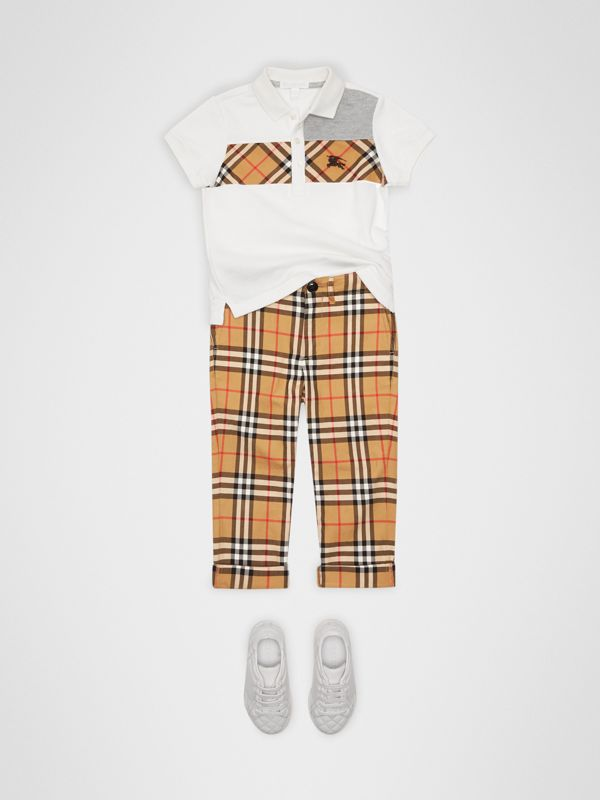 Vintage Check Panel Cotton Polo Shirt in White | Burberry - cell image 2
