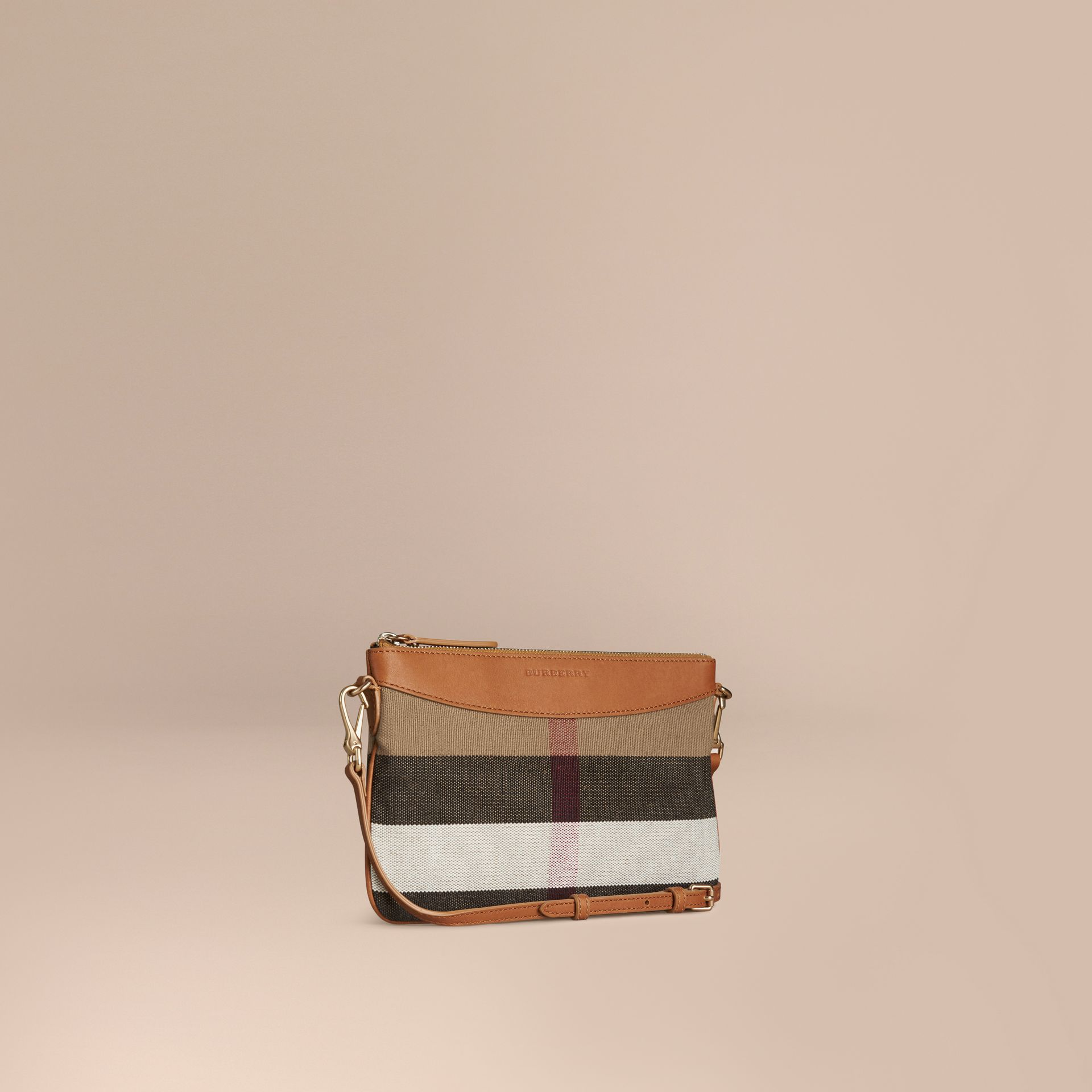 Saddle brown Canvas Check and Leather Clutch Bag Saddle Brown - gallery image 1