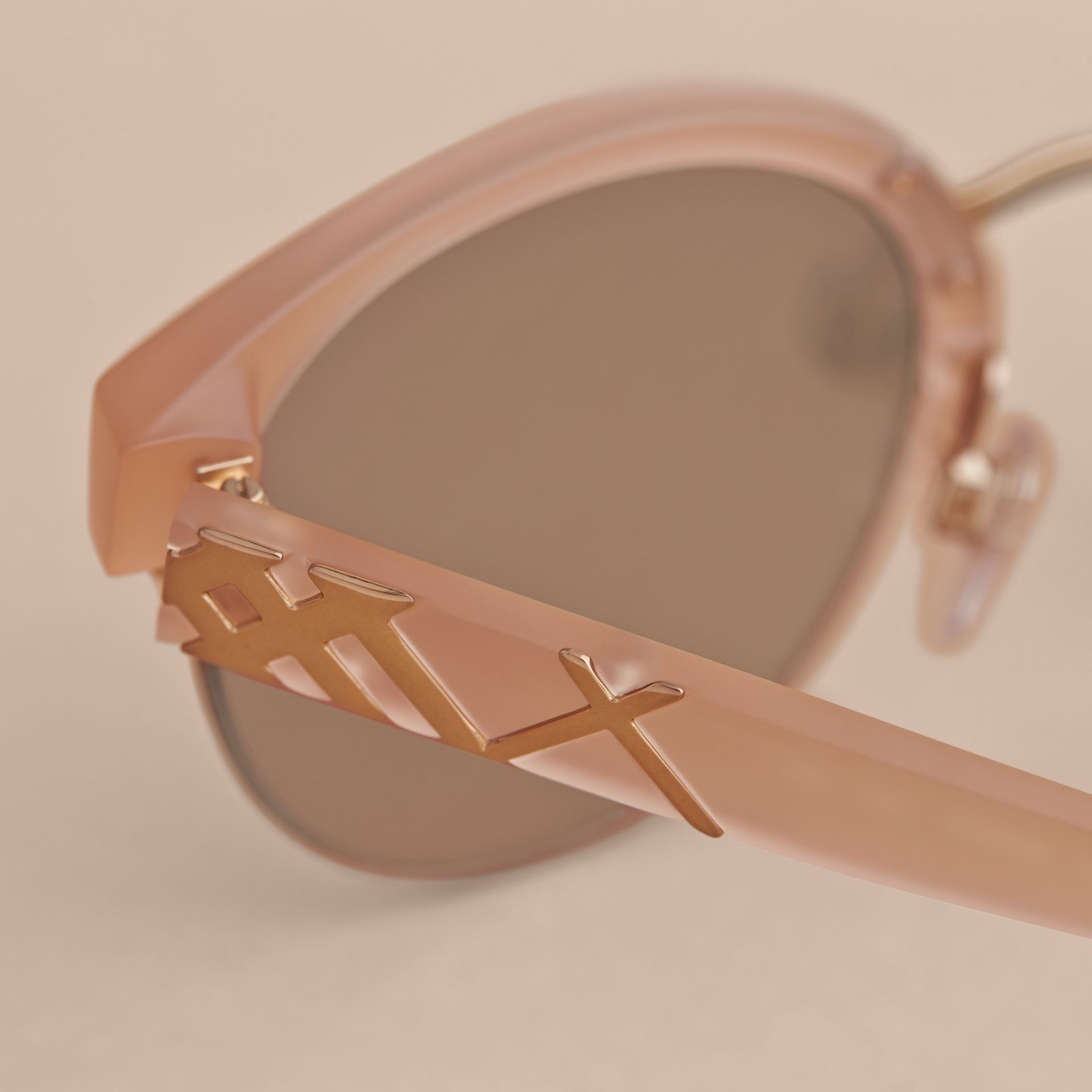 Check Detail Round Half-frame Sunglasses in Nude - Women | Burberry - gallery image 2