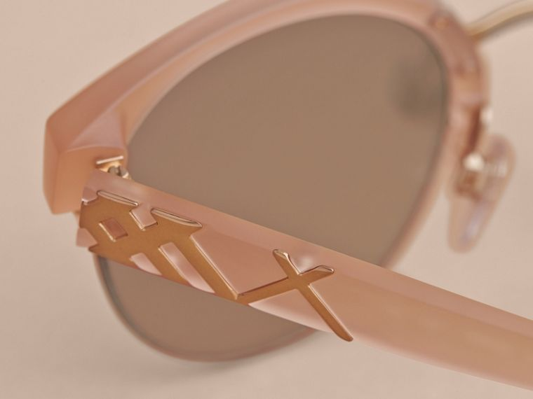 Check Detail Round Half-frame Sunglasses in Nude - Women | Burberry Canada - cell image 1