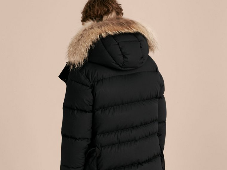 Black Shearling Trim Down-filled Coat with Raccoon Fur Hood - cell image 1