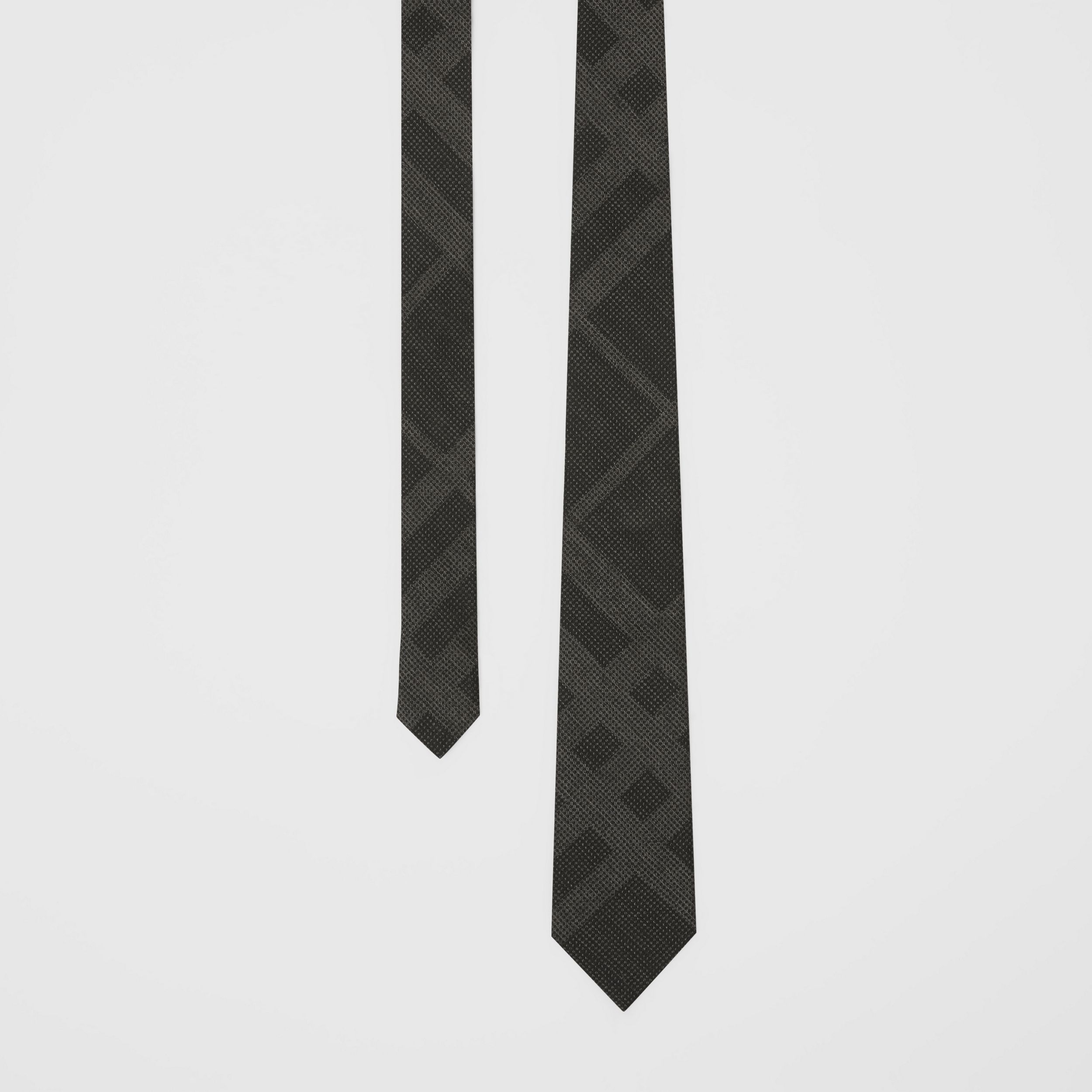 Classic Cut Check Silk Tie in Dark Grey Melange - Men | Burberry - 1
