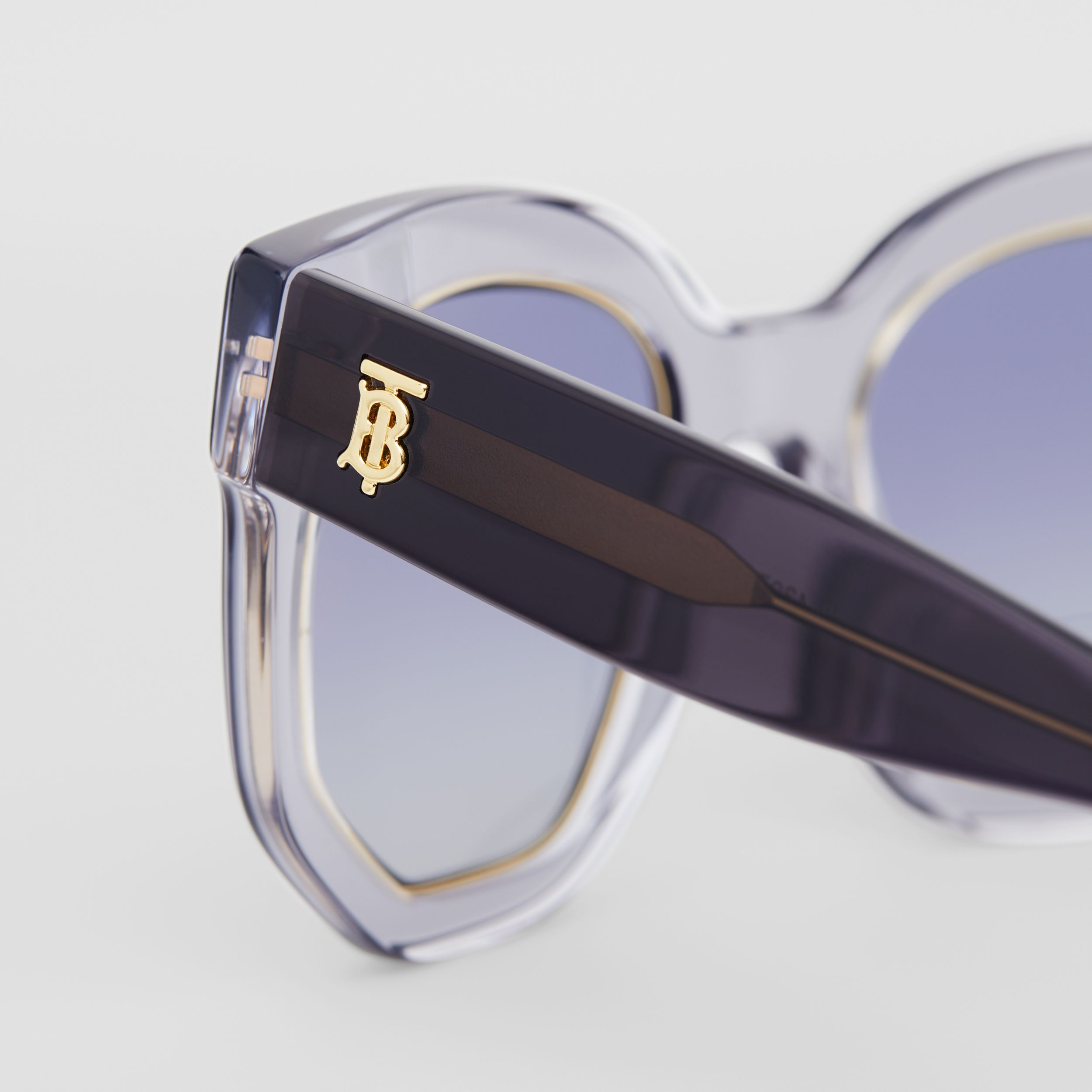 Geometric Frame Sunglasses in Grey - Women | Burberry - 2