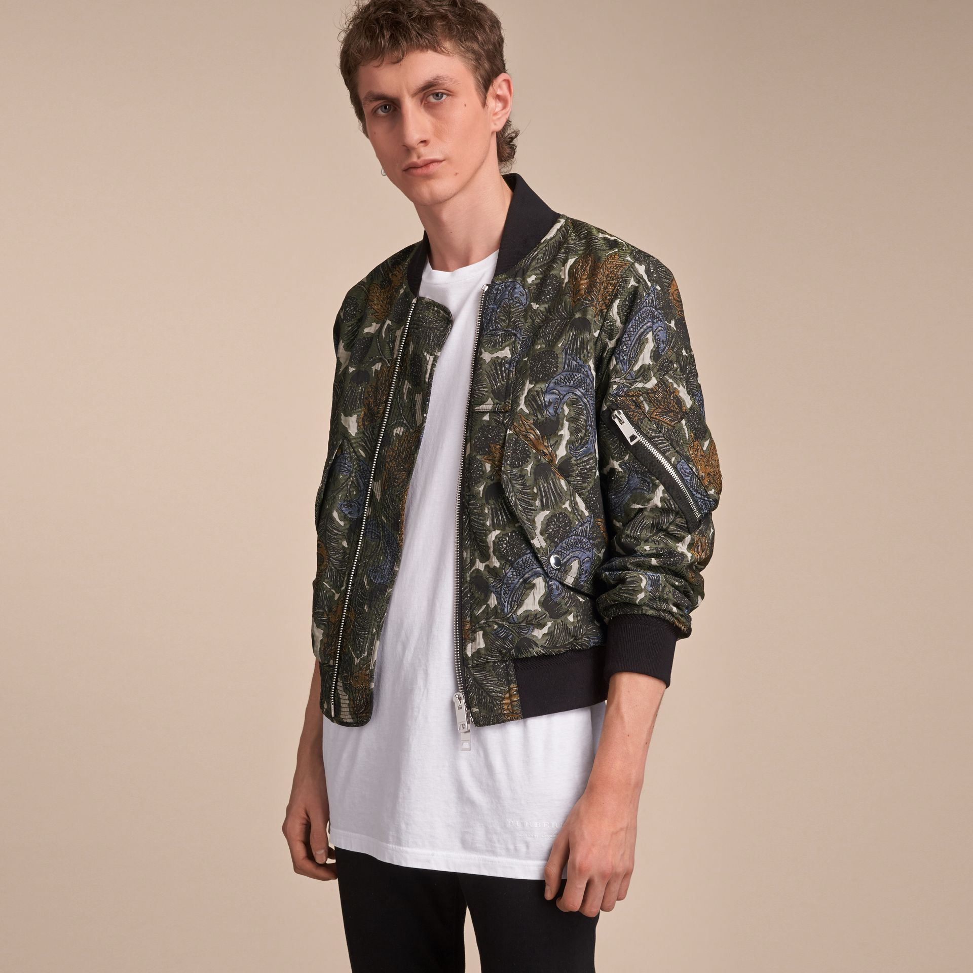 Beasts Print Lightweight Bomber Jacket in Sage Green - Men | Burberry - gallery image 6