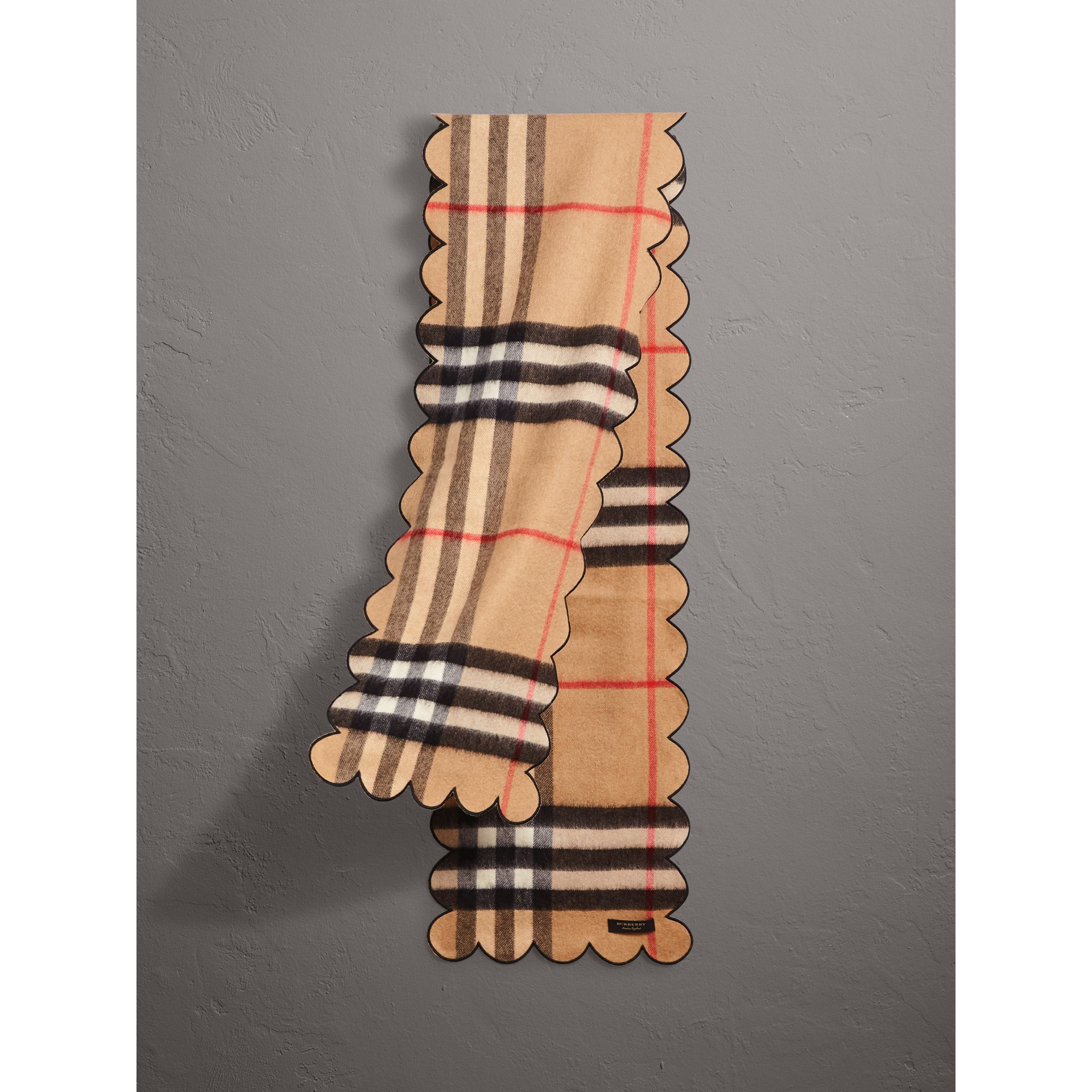 Scalloped Check Cashmere Scarf in Camel - Women | Burberry - gallery image 0