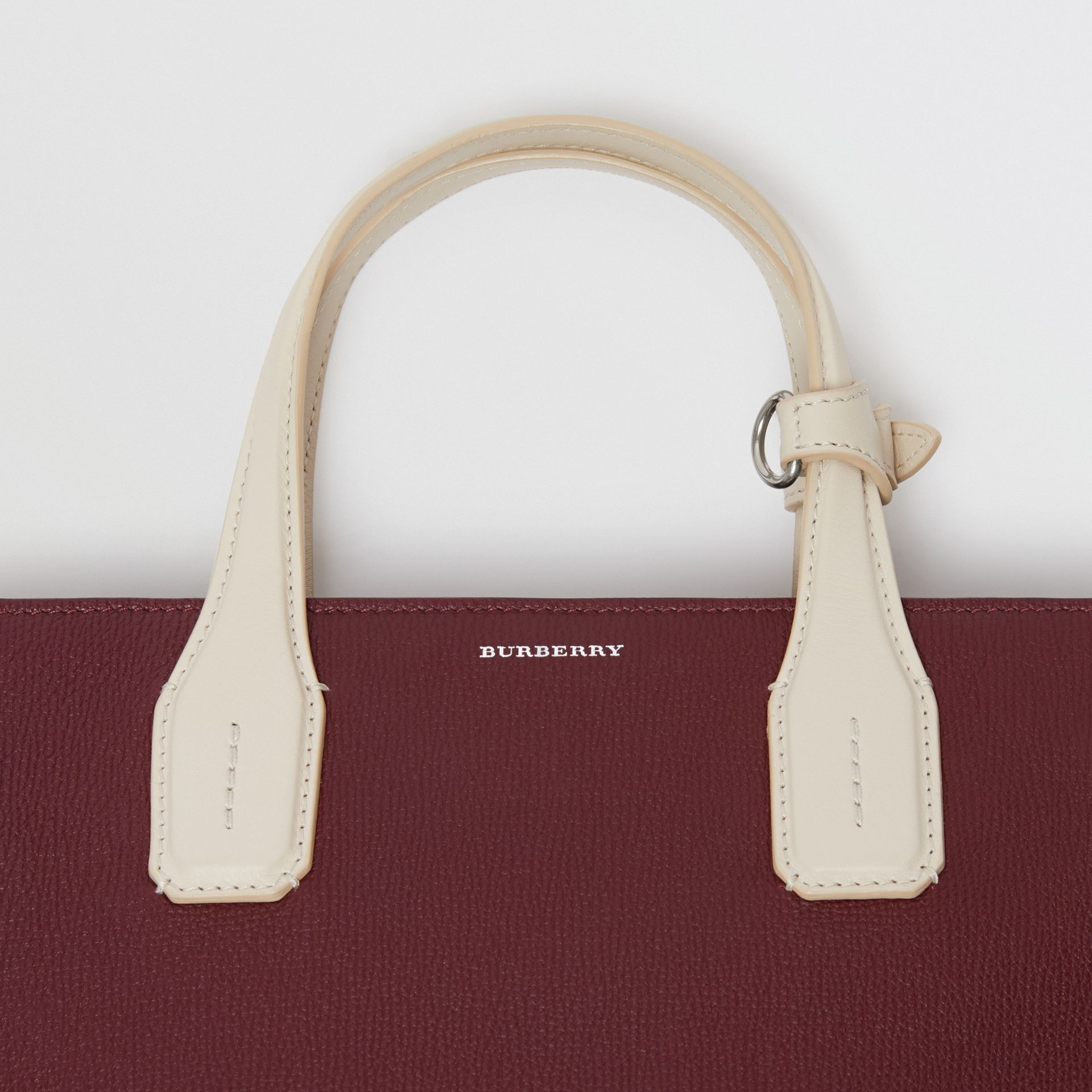 The Medium Banner in Two-tone Leather in Mahogany Red/limestone - Women | Burberry United Kingdom - gallery image 1