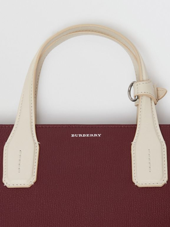 The Medium Banner in Two-tone Leather in Mahogany Red/limestone - Women | Burberry Canada - cell image 1