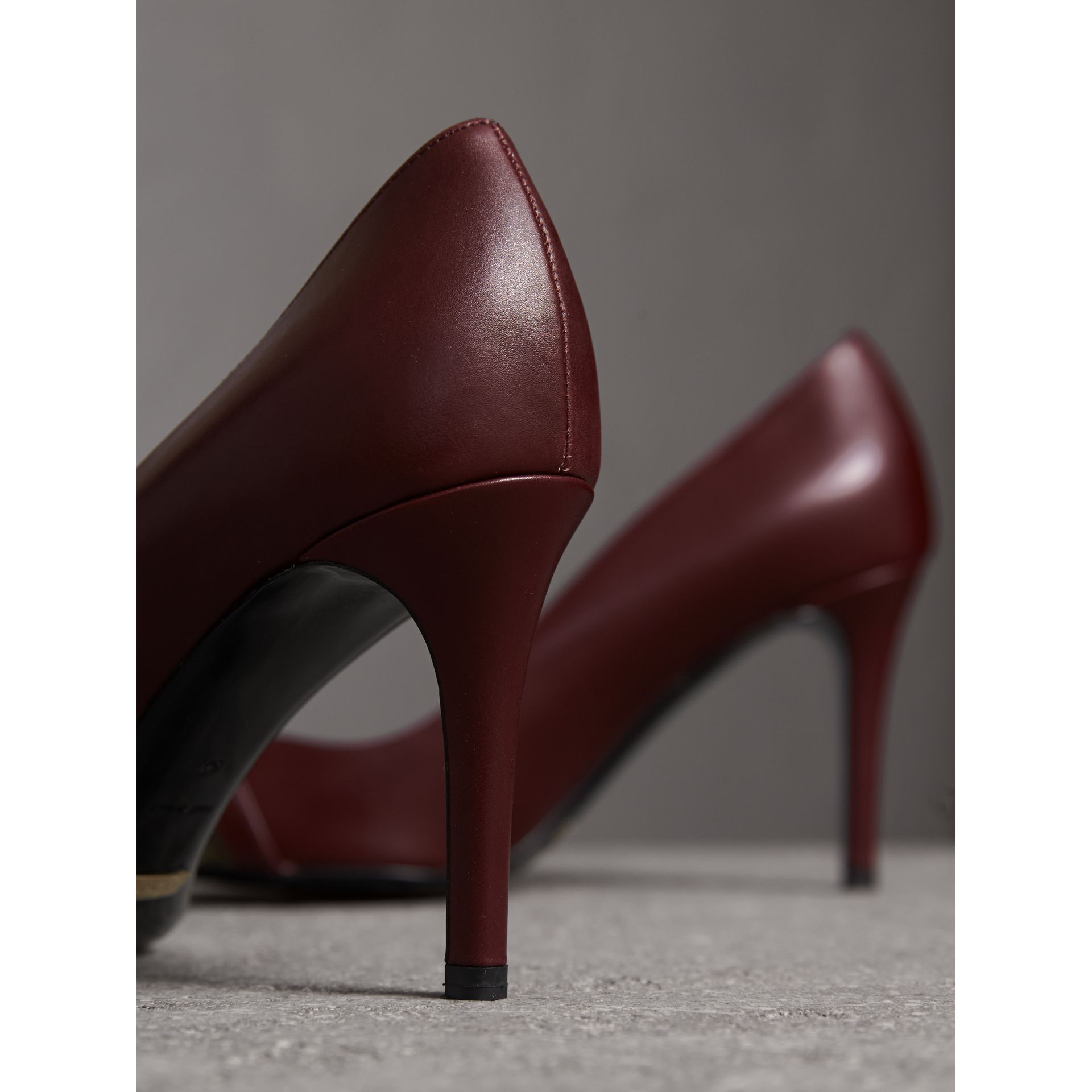 Horseferry Check Leather Pumps in Oxblood - Women | Burberry - gallery image 3