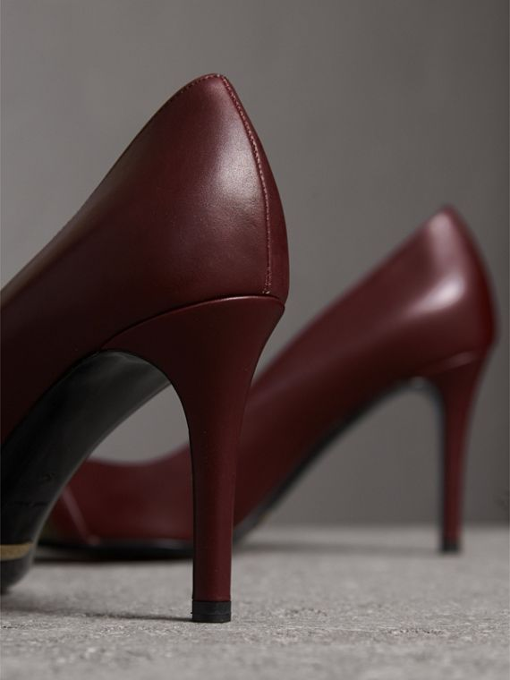 Horseferry Check Leather Pumps in Oxblood - Women | Burberry Singapore - cell image 2