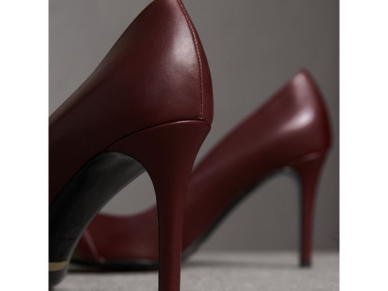 Horseferry Check Leather Pumps in Oxblood - Women | Burberry - cell image 4