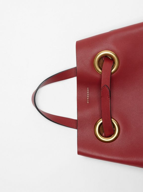 The Leather Grommet Detail Backpack in Crimson - Women | Burberry United States - cell image 1
