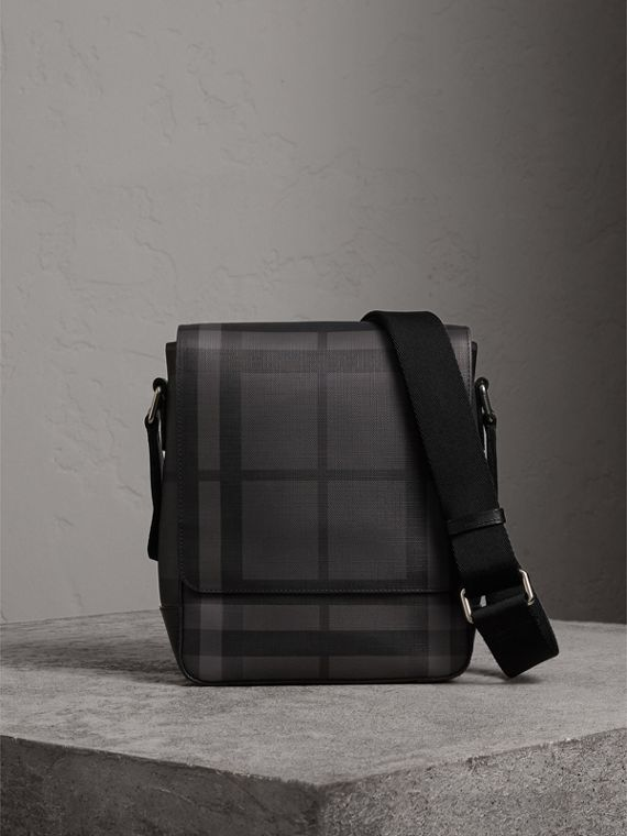 London Check Crossbody Bag in Charcoal/black