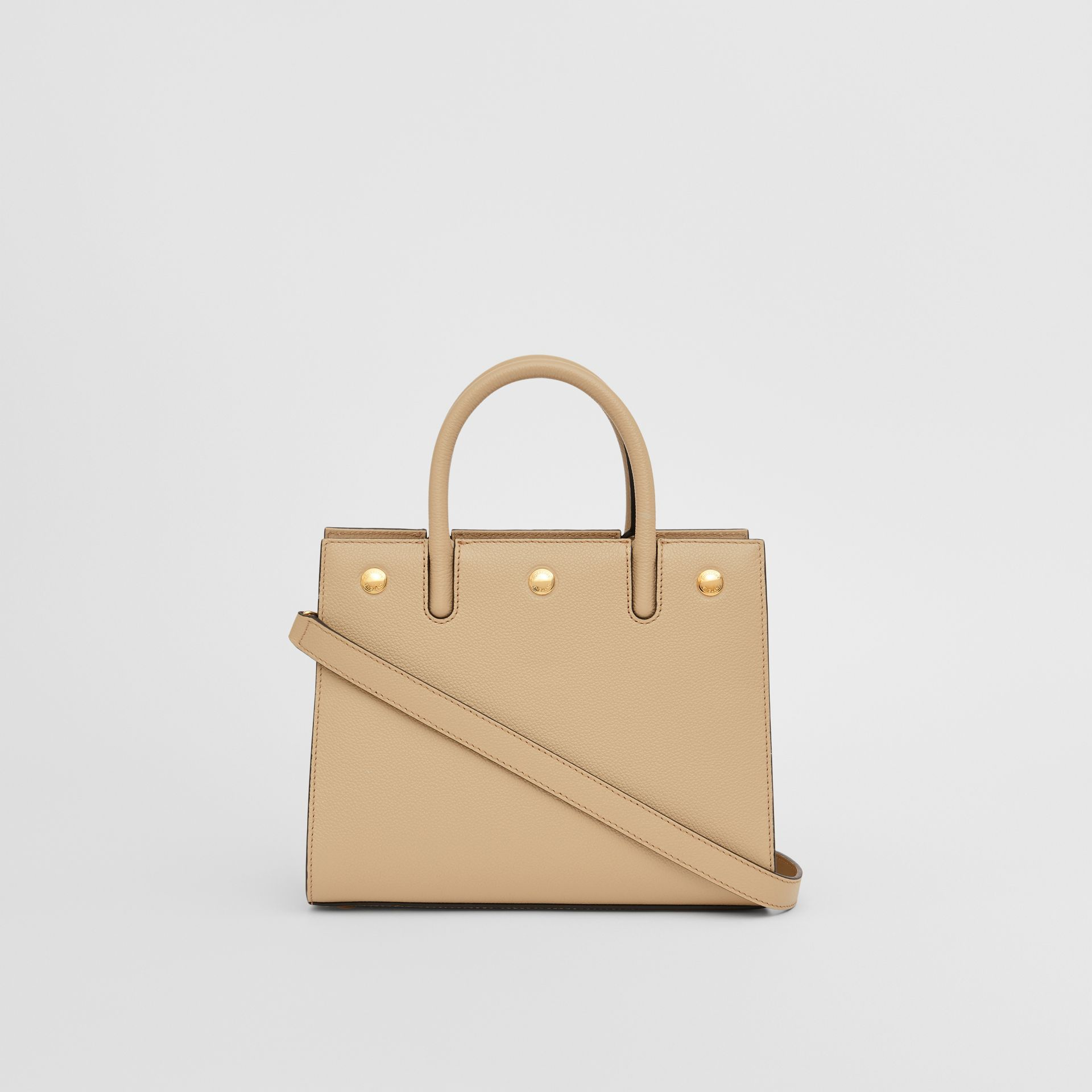 Mini Leather Two-handle Title Bag in Light Beige - Women | Burberry - gallery image 7