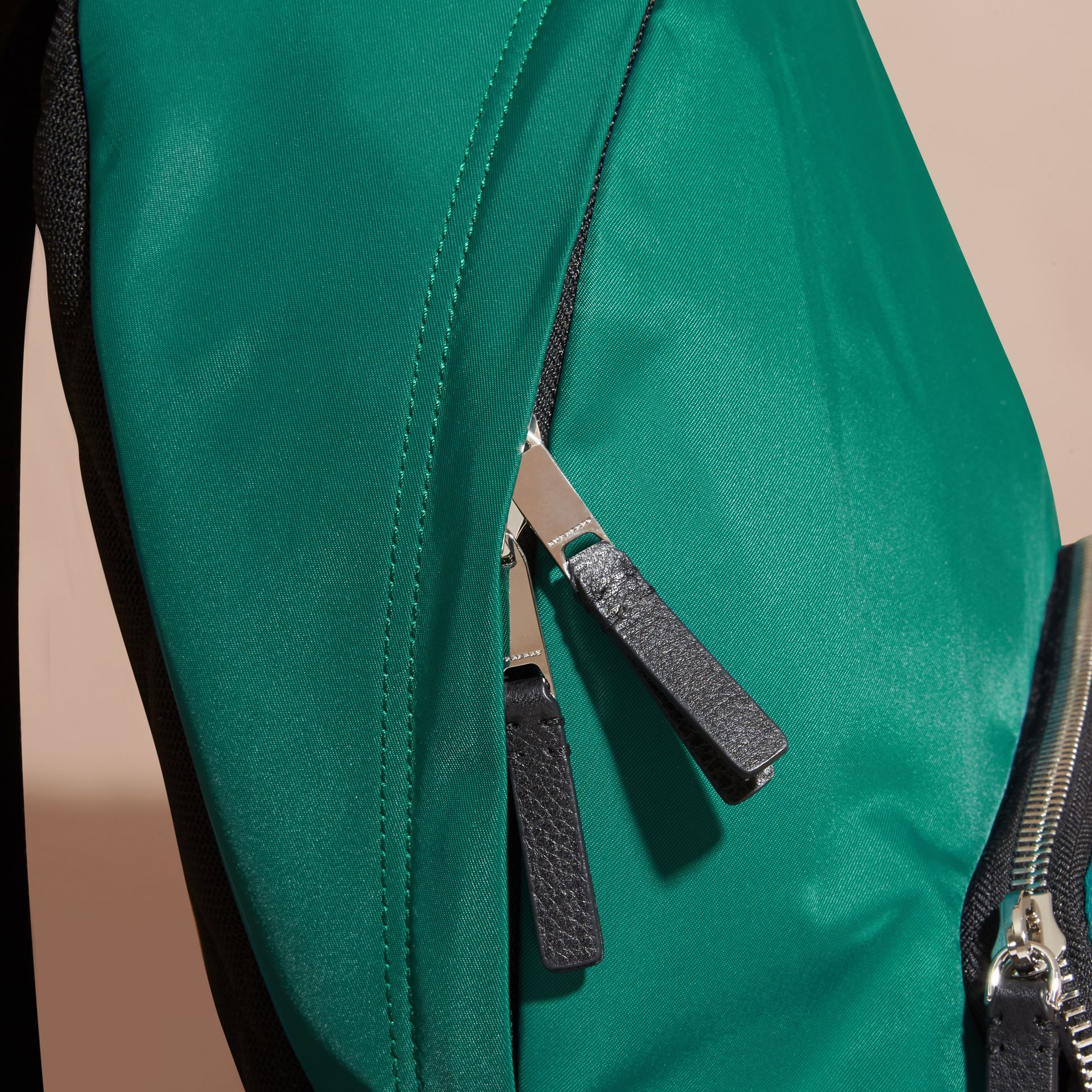 Pine green Leather Trim Nylon Backpack Pine Green - gallery image 2
