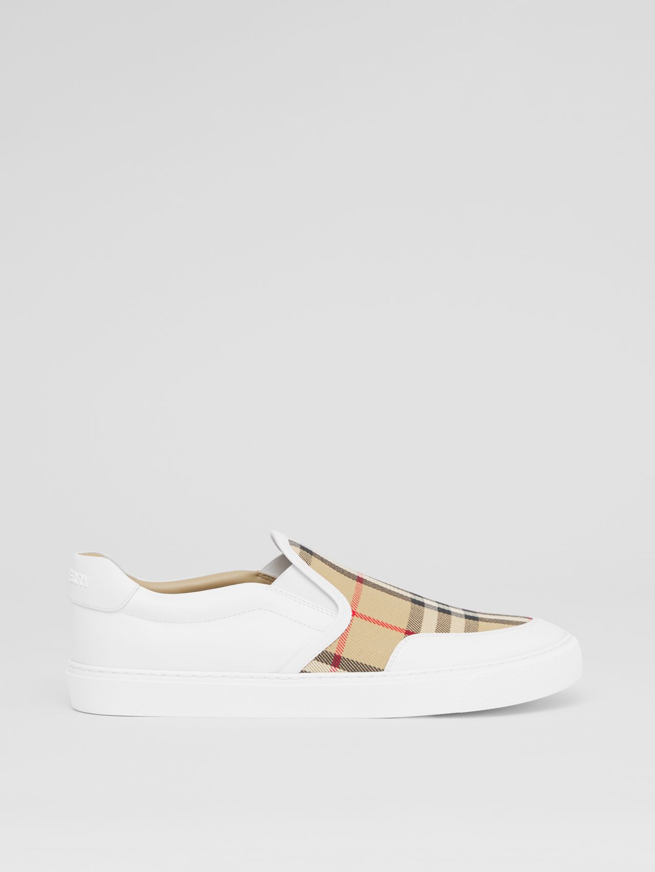 Leather and Vintage Check Slip-on Sneakers in White/archive Beige