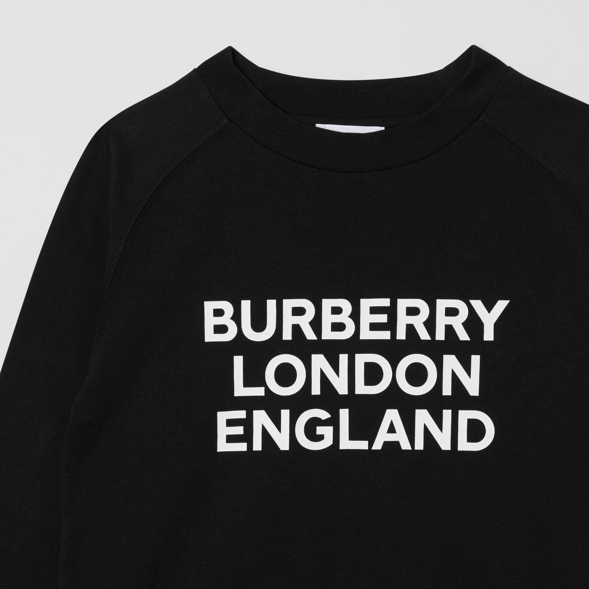 Long-sleeve Logo Print Cotton Top in Black | Burberry United Kingdom - gallery image 4