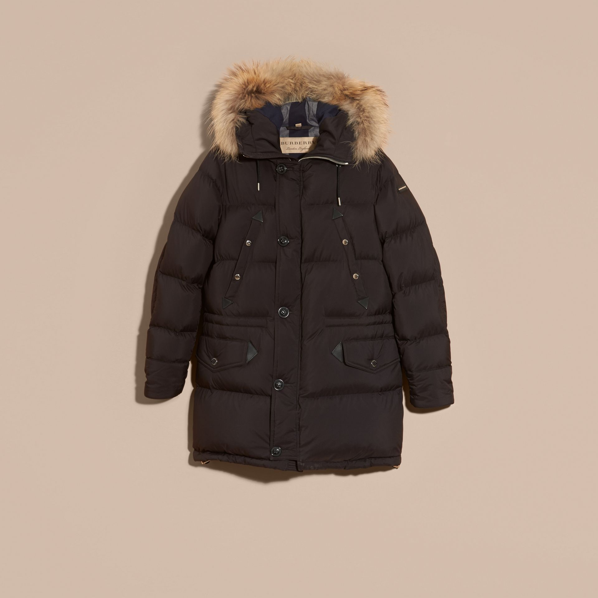 Black Down-filled Coat with Detachable Fur Trim - gallery image 4