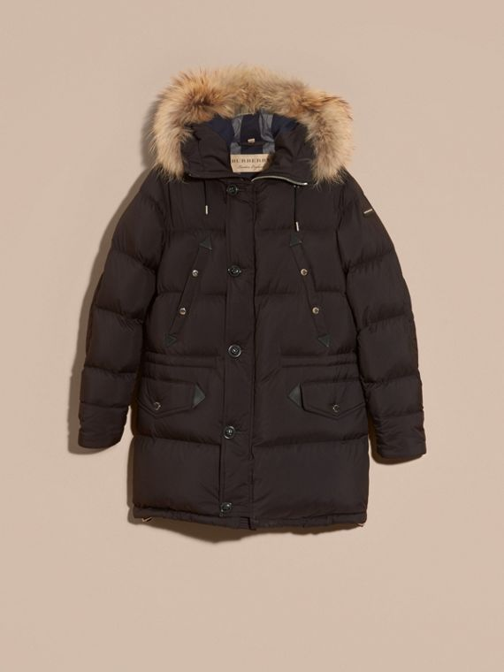 Black Down-filled Coat with Detachable Fur Trim - cell image 3