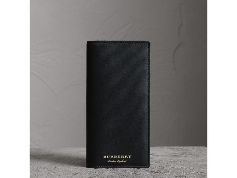 Trench Leather Continental Wallet in Black - Men | Burberry Australia - cell image 4