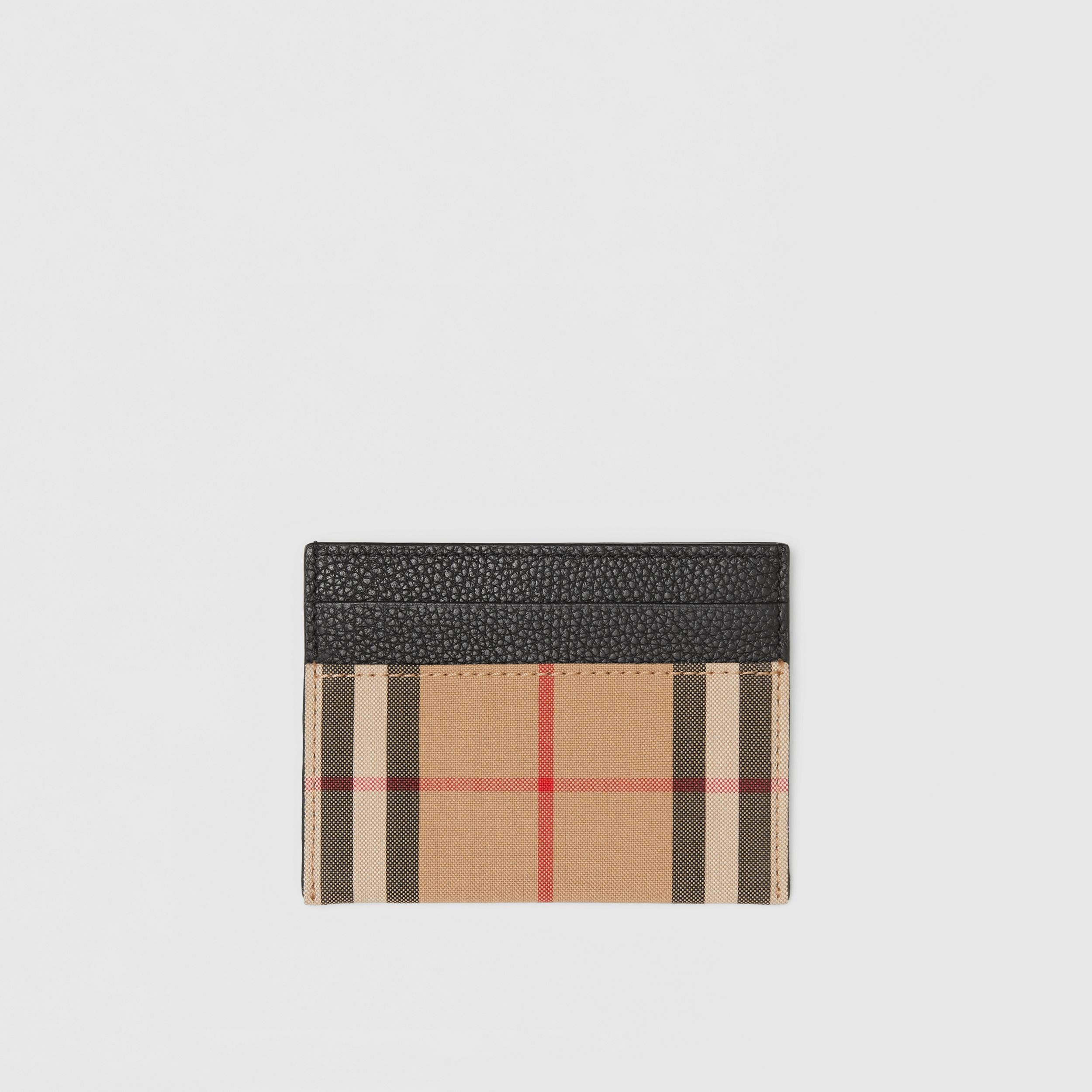Vintage Check and Leather Card Case in Black - Women | Burberry - 1