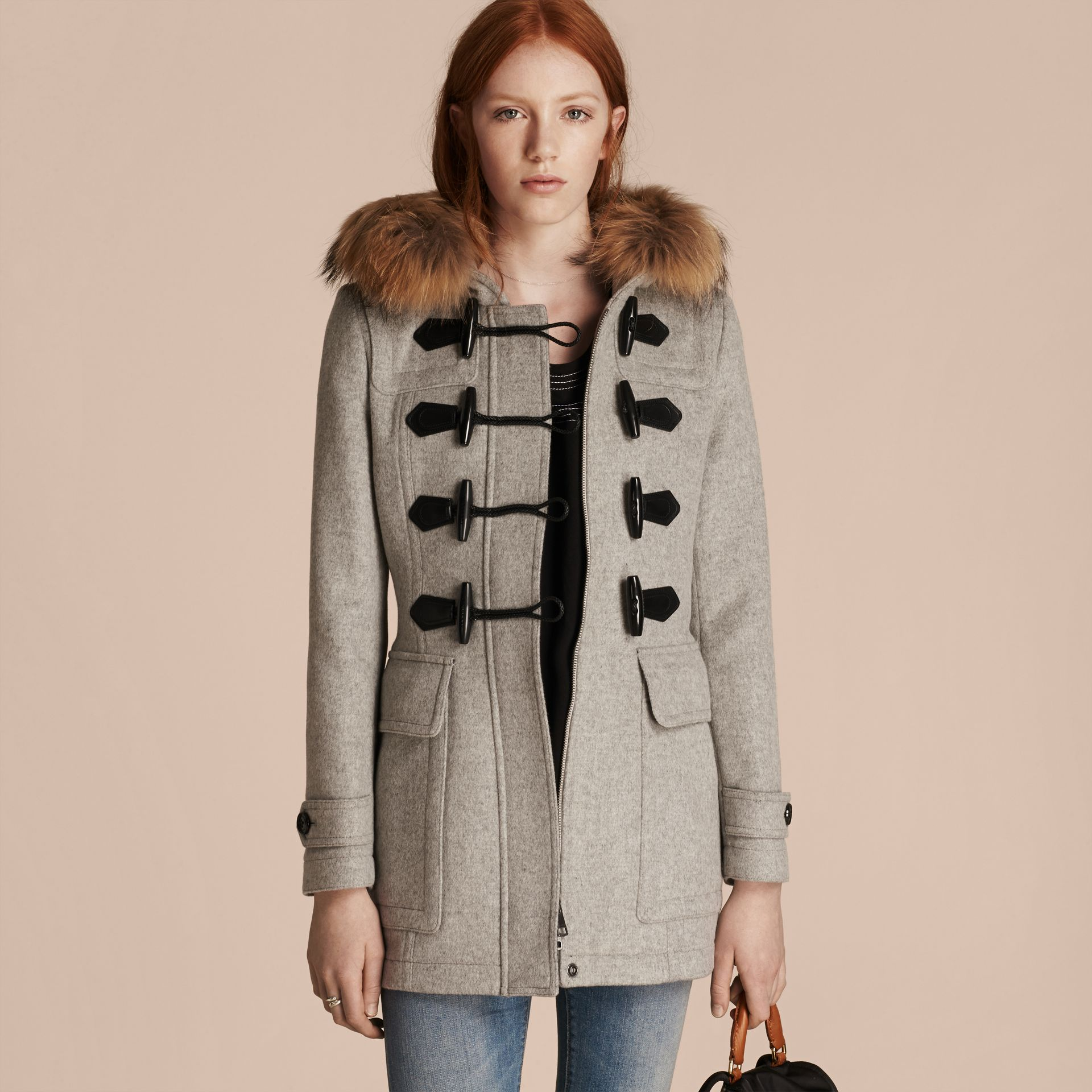 Light grey melange Wool Duffle Coat with Detachable Fur Trim - gallery image 7