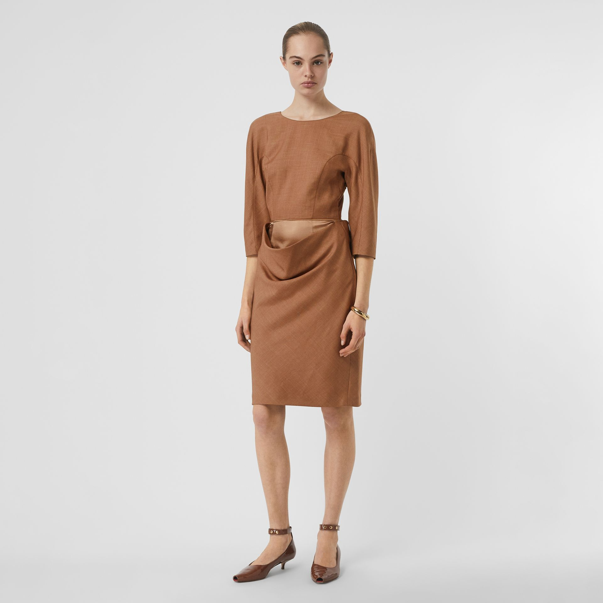 Double-waist Wool Silk Mohair Linen Dress in Bronze - Women | Burberry - gallery image 0