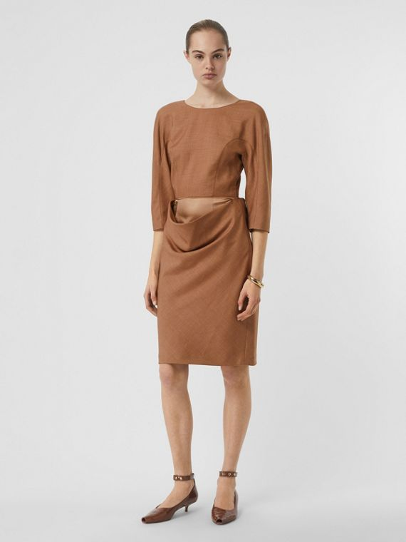 Double-waist Wool Silk Mohair Linen Dress in Bronze