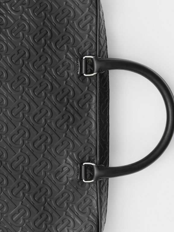 Monogram Leather Briefcase in Black - Men | Burberry - cell image 1